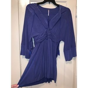 Free People Royal Blue Quarter Length Sleeve Dress